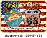 grungy  nostalgic route pizza... | Shutterstock .eps vector #284454653