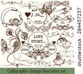 set of vector calligraphic... | Shutterstock .eps vector #284457257