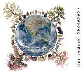 animal stand around the world...   Shutterstock . vector #284462627