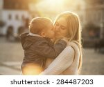 happiness mother and son on the ... | Shutterstock . vector #284487203