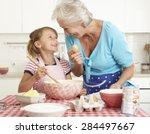 grandmother and granddaughter... | Shutterstock . vector #284497667