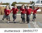 elementary school pupils... | Shutterstock . vector #284501777