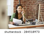 woman working at computer in... | Shutterstock . vector #284518973