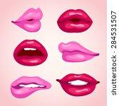 sexy lips illustration set   Shutterstock .eps vector #284531507