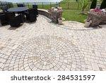 ornamental brick paved outdoor... | Shutterstock . vector #284531597