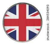 british flag on round wooden... | Shutterstock . vector #284534093