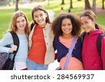 Group Of Young Girls Hanging...