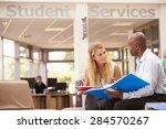 college student having meeting... | Shutterstock . vector #284570267