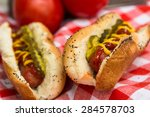 Close Up Of Two Hot Dogs On Re...