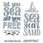 vector calligraphic hand drawn... | Shutterstock .eps vector #284597867