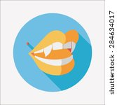 halloween fangs flat icon with...   Shutterstock . vector #284634017