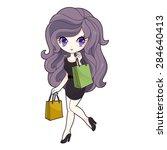 shopping girl. stylized...   Shutterstock . vector #284640413