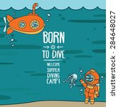 """""""born to dive"""" poster  card... 