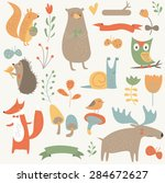 forest set with cute bear ... | Shutterstock .eps vector #284672627