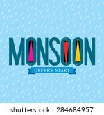monsoon offer and sale banner ... | Shutterstock .eps vector #284684957
