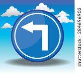 blue traffic circle shaped turn ... | Shutterstock . vector #284696903