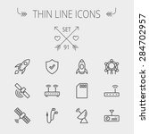 technology thin line icon set...