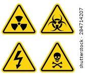hazard warning icon set    Shutterstock .eps vector #284714207