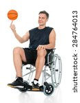 disabled basketball player on... | Shutterstock . vector #284764013