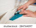 close up of a craftsman cutting ... | Shutterstock . vector #284764097