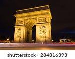 evening view of illuminated arc ... | Shutterstock . vector #284816393