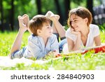 cute boy and young woman in... | Shutterstock . vector #284840903