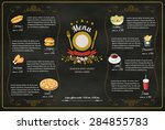restaurant fast foods menu on... | Shutterstock .eps vector #284855783