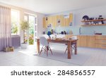 modern kitchen interior. 3d...   Shutterstock . vector #284856557