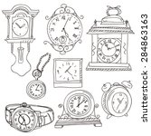 watches and clocks collection | Shutterstock .eps vector #284863163