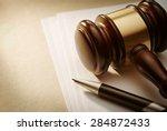 gavel close up. conceptual... | Shutterstock . vector #284872433