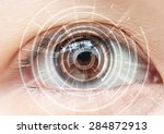 close up of woman's brown eye.... | Shutterstock . vector #284872913