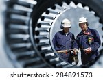 engineers  workers seen through ... | Shutterstock . vector #284891573