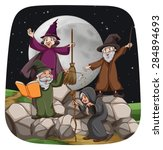 witch and wizard in the night... | Shutterstock .eps vector #284894693