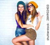 flirty beauty. portrait of... | Shutterstock . vector #284902403