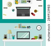 workplace in room   vector flat ...   Shutterstock .eps vector #284913983