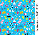 seamless pattern with summer... | Shutterstock .eps vector #284917913