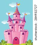 pink magic castle | Shutterstock .eps vector #284932727