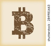 grungy brown icon with bitcoin...