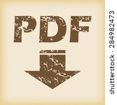 grungy brown icon with text pdf ...