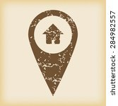 grungy brown icon with map...