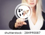 businesswoman touch button web... | Shutterstock . vector #284990087
