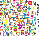seamless background with doodle ... | Shutterstock .eps vector #285002837