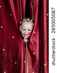 young blond girl with face... | Shutterstock . vector #285005087