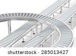 metal roller conveyor system.... | Shutterstock . vector #285013427