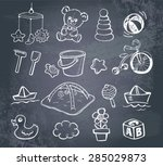 set of hand drawn doodle icons... | Shutterstock .eps vector #285029873