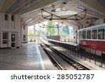 old train stop at railway...   Shutterstock . vector #285052787