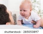 young father cannot soothe his... | Shutterstock . vector #285053897
