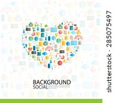 heart social network with media ... | Shutterstock .eps vector #285075497