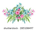 bouquet with pink and blue... | Shutterstock .eps vector #285108497