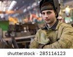 portrait factory welder worker... | Shutterstock . vector #285116123